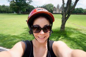 Jess wearing a helmet