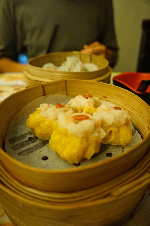 Dumplings in a Dim Sum steam basket