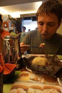 Ron eating some Dim Sum