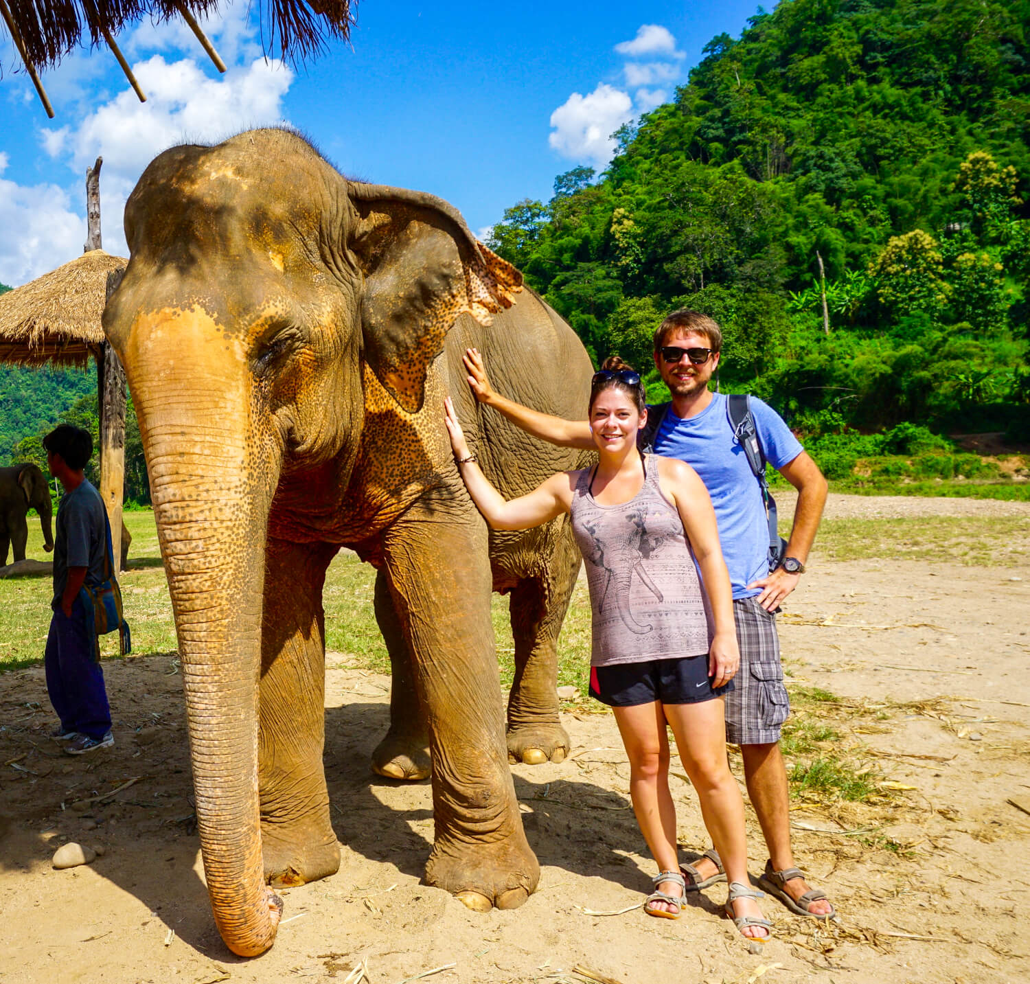 Us taking a picture with an elephant