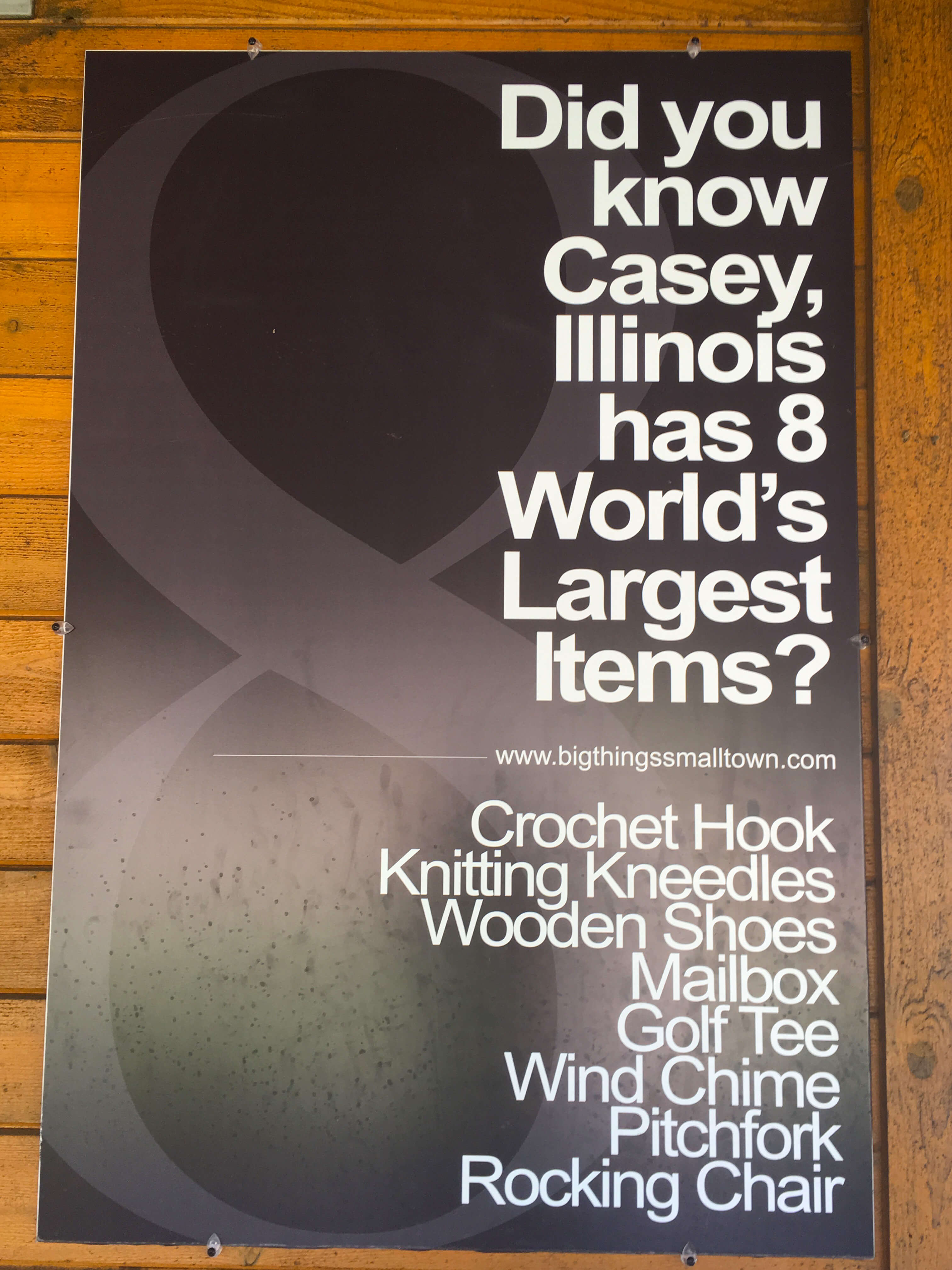 Casey Illinois sign with a list of the world's largest things in town