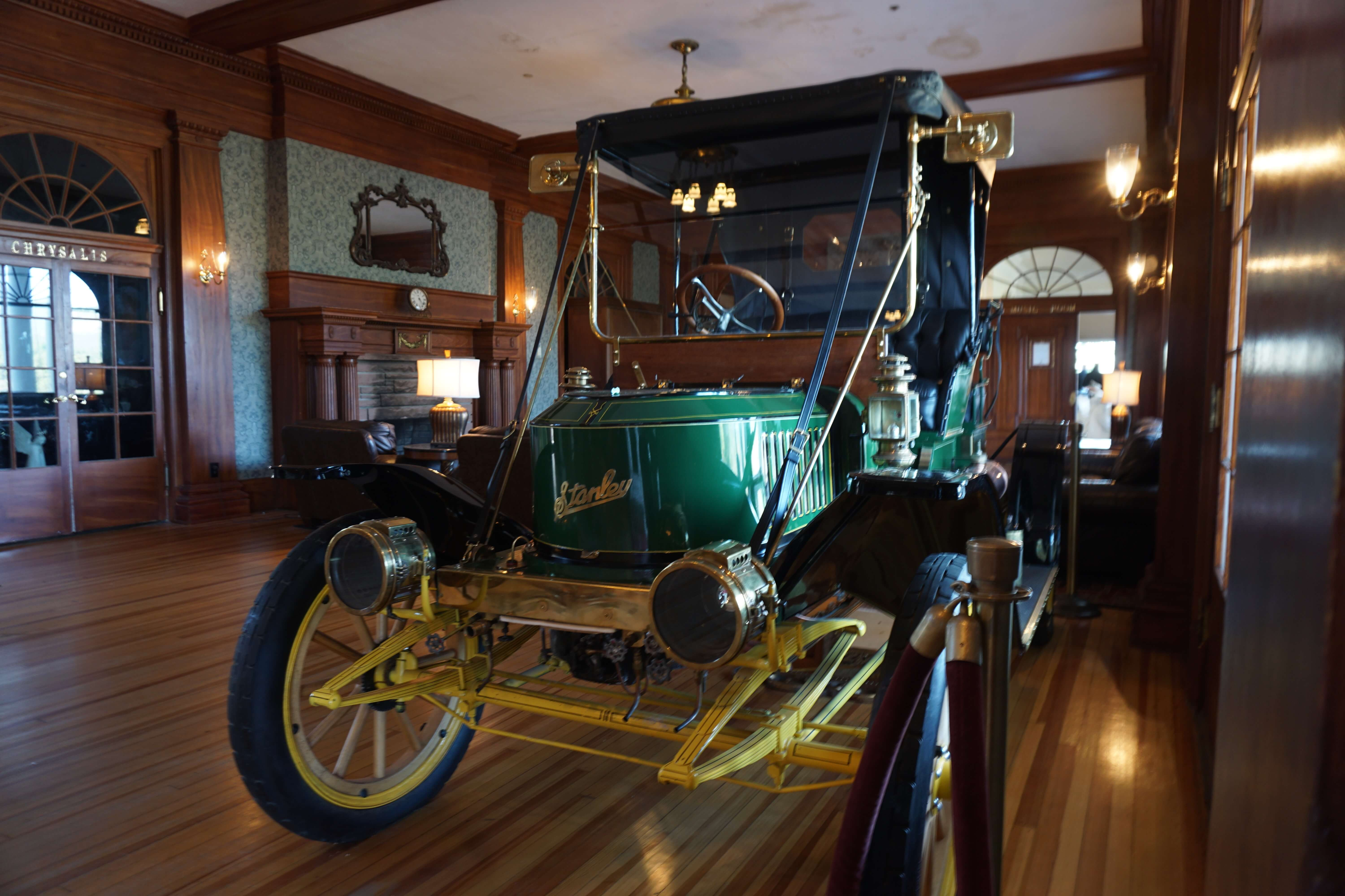 A Stanley Steamer in the hotel lobby