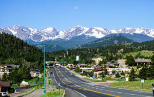 View of the rocky mountains from Estes Park