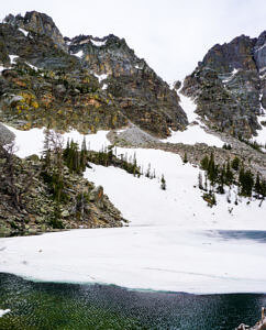 Dream lake with ice and snow