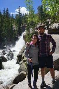 Ron and Jess in front of Alberta Falls