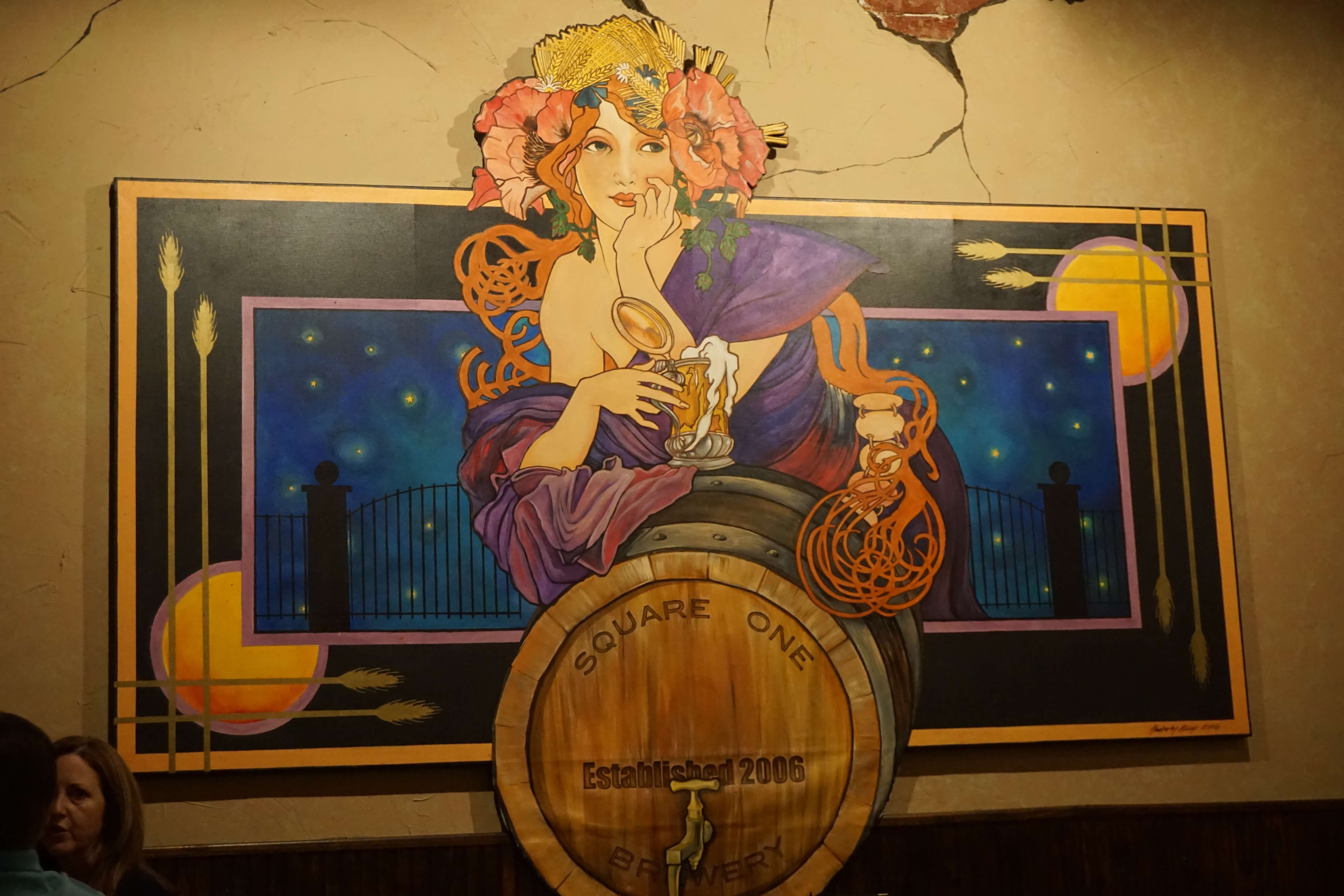 Mural on the wall of square one brewery