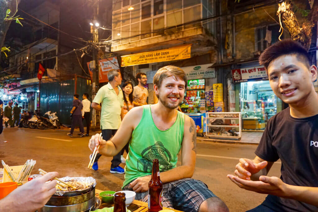 Eating street food with new friends