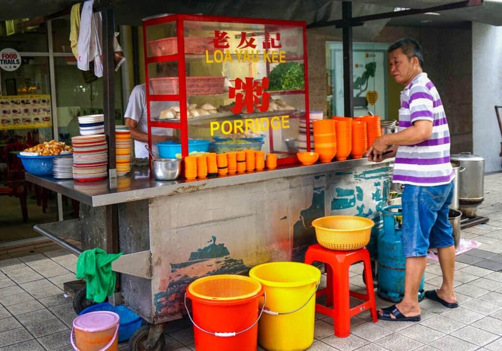 Man buying street food