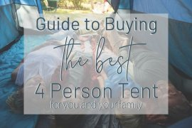 Family inside a 4 person tent